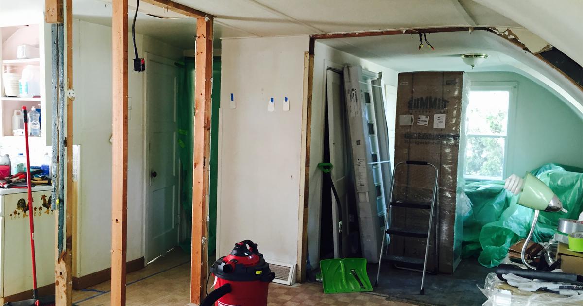 After demolition, living room looking North.
