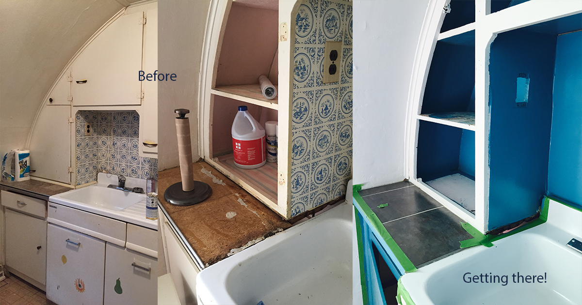 Kitchen cabinets before and now.